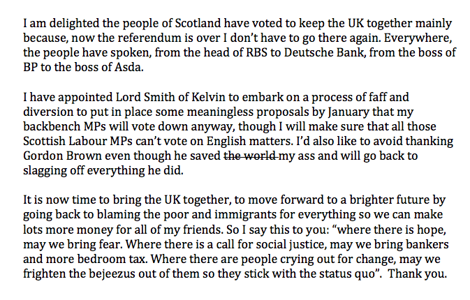 Cameron's statement on #indyref in full http://t.co/yURrzSaRuk