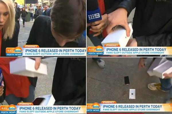 VIDEO: Man is first person to buy iPhone 6 - but immediately drops it http://t.co/Ra38p4q1uP #iphone6 #apple http://t.co/PDctk99EG8