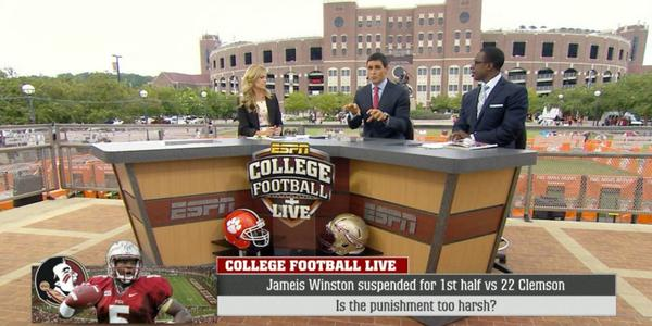 """""""I would have liked a 1 game suspension"""" --@davidpollack47 on Jameis Winston's punishment   #CFBLIVE on @ESPNU http://t.co/g0qNlSsq0t"""