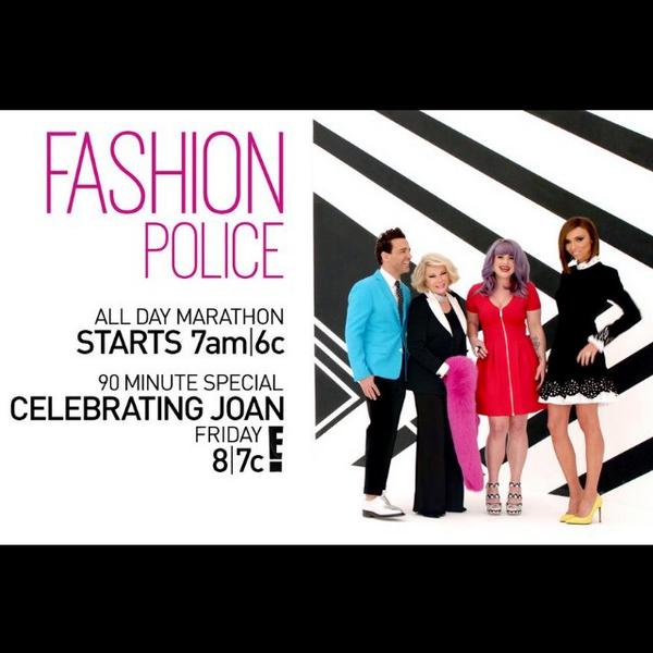 It's #JoanDay on E with  @e_FashionPolice marathon of shows & a celebration later tonight. http://t.co/2HcWwx4ewY