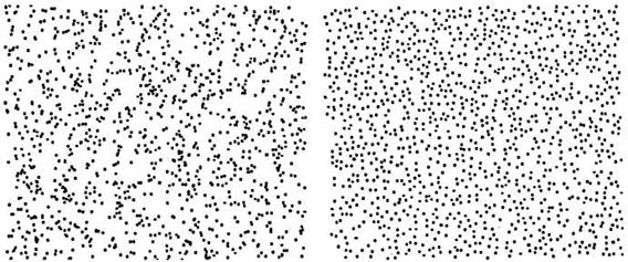One pattern random, the other generated