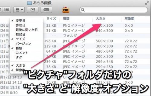 [Mac] Finderの「ピクチャ」フォルダのカラム表示だけに大きさと解像度オプションがある http://t.co/kUkHpytihr / http://t.co/CiY9yhfrfZ