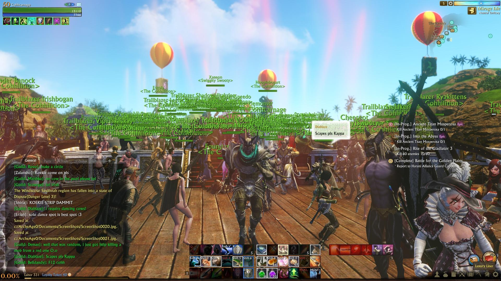 Sub/1k Token guild in @ArcheAge hit 1,000 members today (WOAH!) and we may have thrown a party :D Best. MMO. Ever