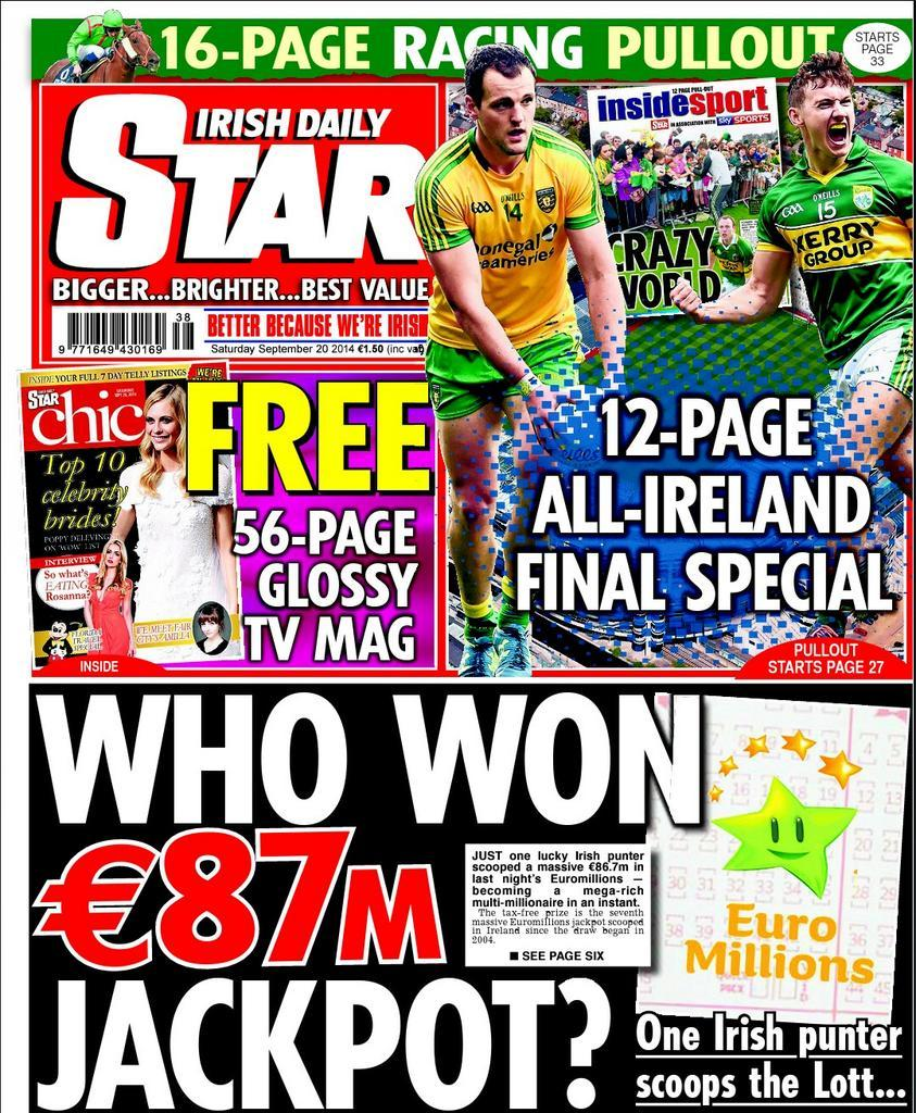 RT @IsFearrAnStar: In today's Irish Daily Star: two great sports pullouts, free @starchicmag and exclusive @georgiasalpa column http://t.co…
