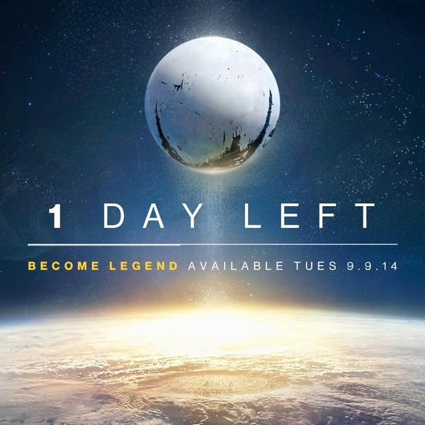 Not long left now! Keep an eye on @DestinyTheGame & @Bungie as we celebrate the final countdown and launch! #Destiny http://t.co/IEWm6lpCXr