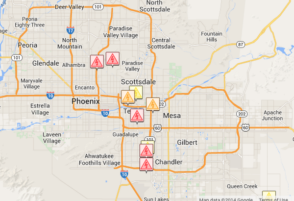 Power Outages Srp Outage Map Showing Outages Throughout The Valley