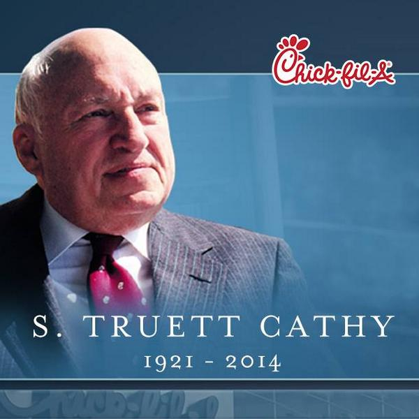 BREAKING: The founder of Chick-fil-A, Truett Cathy, has passed away at age 93. #ChickFilA #RIPcathy http://t.co/hkVeiWizph