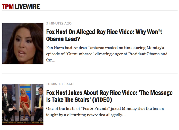 How Fox News has been covering the Ray Rice situation today: http://t.co/1bVb4ldeLA http://t.co/Pm65fgj7bQ