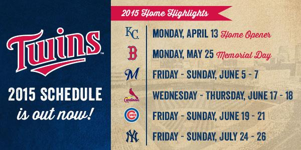 """Minnesota Twins on Twitter: """"The 2015 schedule is here with some fantastic  matchups coming to Target Field! Check it out: http://t.co/4bqJSJ3uEX ..."""