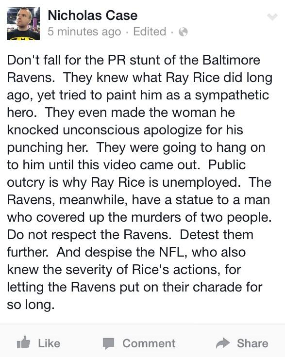 Here, sums up my feelings on all of this. The @ravens and the @nfl didn't care until you did. http://t.co/JPnnpjop0r