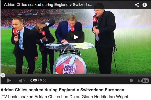 Adrian Chiles & co get soaked by a sprinkler #ENGvSWI http://t.co/amr4Vv0tR1