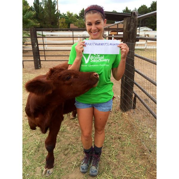 My #fastagainstslaughter pledge w Norman the 3legged cow. Join me on oct 2nd. @FARMUSA http://t.co/cx1k8PT39h #vegan http://t.co/J6wnGgTw4Q