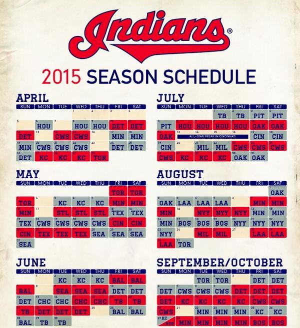 Gratifying image pertaining to cleveland indians printable schedule