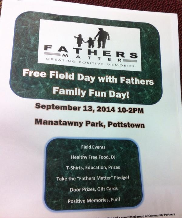 A Fathers Matter event has also been held in Norristown. It will be under the pavilion on the island. http://t.co/j1wOCXfrRj