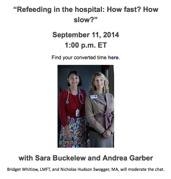 "Join @aedweb this Thursday at 10 PST for the #AEDchat on ""#Refeeding"" w/ @UCSF's @SaraBuckelew & @AndreaGarber2! http://t.co/QoJ8gxulGH"