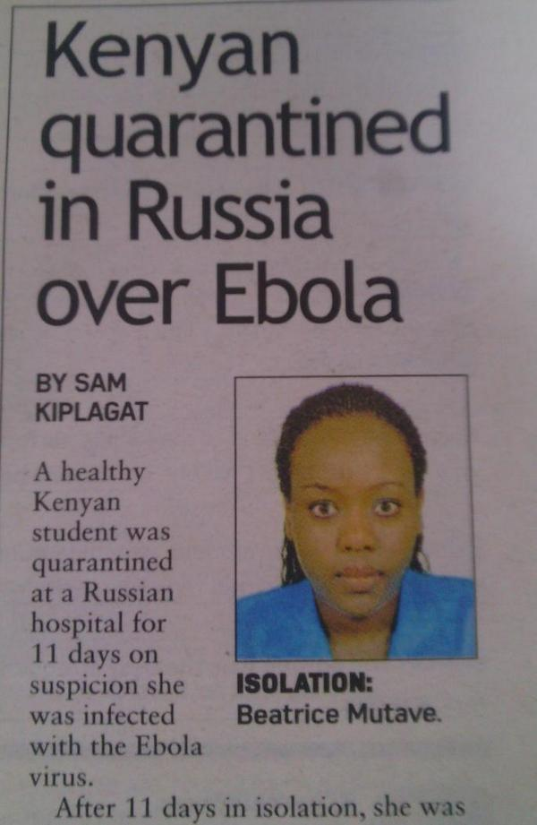 This girl has not been in Africa for the last two years. She was isolated for Ebola observation in Russia. http://t.co/h1fexfYrAb