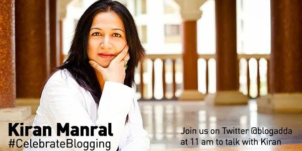 Join us at 11 am today to talk with the effervescent @kiranmanral. It is going to be fun #CelebrateBlogging http://t.co/CwHxktt11u