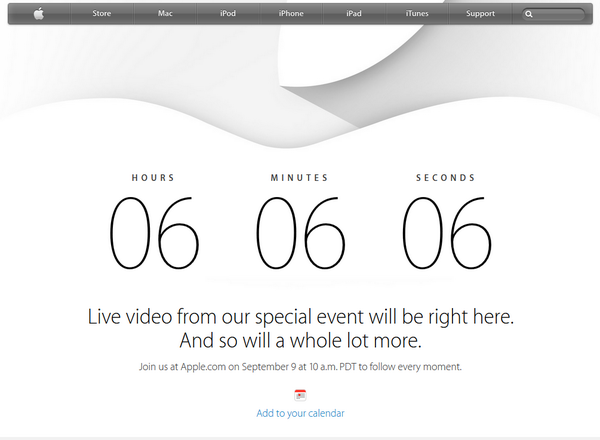 6 hours, 6 minutes and 6 seconds left till iPhone 6 is announced. This was not deliberate, just happened #Apple http://t.co/DJKOChbXef