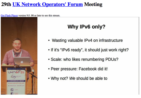 Remotely cheering on @bytemark's very own network guru @tomm3h - talking at @uknof about IPv6 in our York DC #uknof29 http://t.co/LXqpQpizBt
