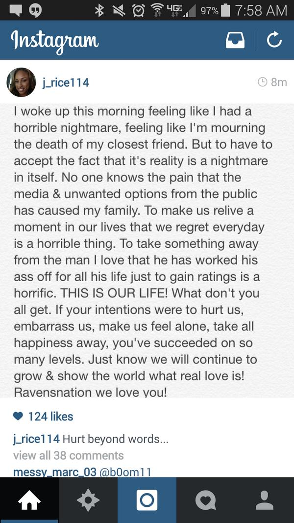 Ray Rice's wife Janay posts  statement on her Instagram account defending her husband. http://t.co/78y9heSTkA http://t.co/dUe4HdAS2o""