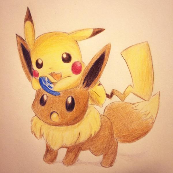 たつひ On Twitter 初めて描いてみたのはピカチュウとイーブイ色鉛筆