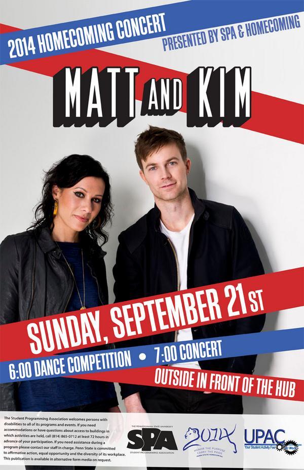 Matt and Kim (@mattandkim) will headline the 2014 @psu_spa Homecoming Concert on Sept. 21! #FTG2014 http://t.co/yu95cs02pP