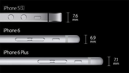 Grosor de los nuevos iPhone 6 y iPhone 6 Plus comparados con el iPhone 5s #ApplesferaKeynote9S http://t.co/xW38d4hKUf