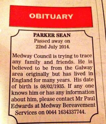 Help us to find Seán Parker's family, to avoid being buried in an unmarked grave. Council will cover repatriation. http://t.co/5tJI1zSsIy