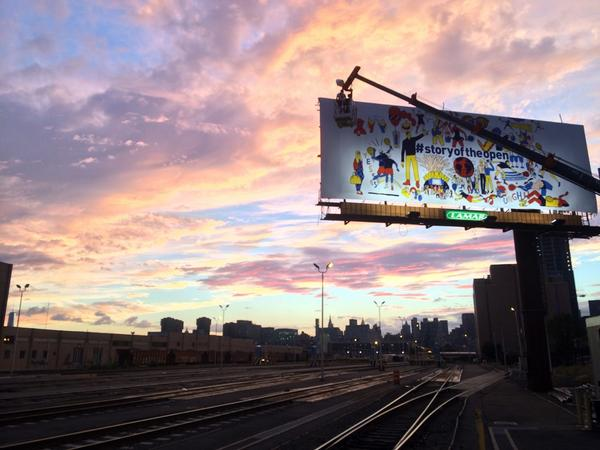 Finally finished the @usopen #storyoftheopen 60 ft billboard! At 3am. This is when I started last night. #sotired http://t.co/CjSXJv7VoP