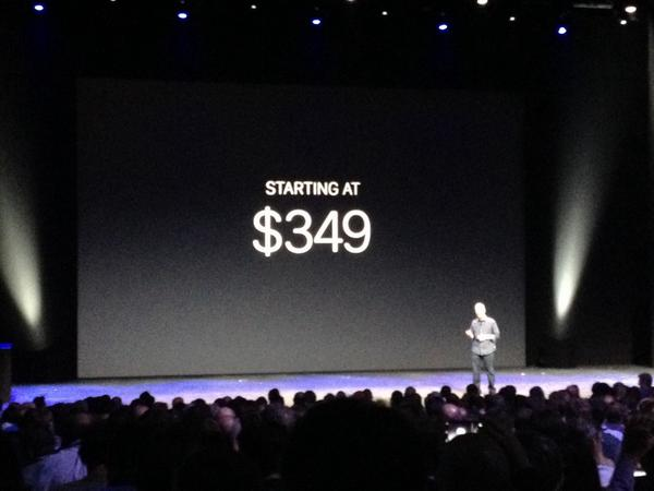 And here is your Apple Watch starting price. $349. Available in early 2015. #AppleEvent #AppleWatch http://t.co/Y9VTbzswwa