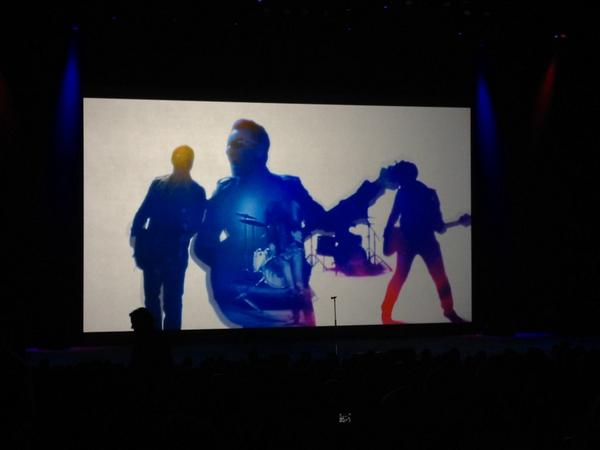Scene from new Apple commercial featuring U2. #U2 #AppleEvent http://t.co/fNJy5hfRE0