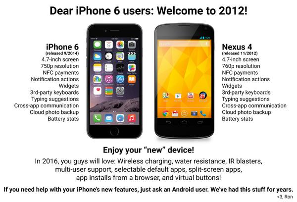 Best iPhone 6 snark so far is 6 vs. Nexus 4. Awesomeness. RT: @RonAmadeo: I couldn't help myself, sorry. http://t.co/6Eefd8X26b""