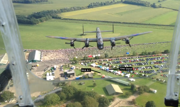 A frame from the video of BBMF leading Vera over Just Jane. I've labelled myself and Nick :o) @PeoplesMosquito http://t.co/5jtKfwvFkq