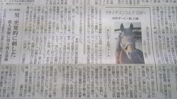 1996年の日本ダービー馬・フサイチコンコルドが9日、青森県内の牧場で亡くなったとのこと。デビュー3戦目でダービーを制した『和製ラムタラ』。種牡馬としても個性豊かな産駒を送り出しました。安らかに。 http://t.co/gKEmbB9B44