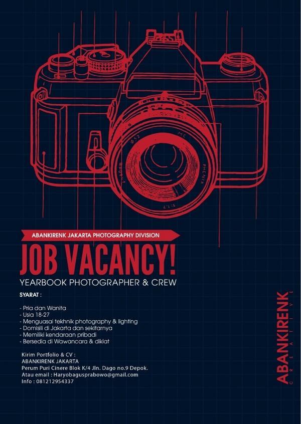 """Abankirenk Jakarta on Twitter: """"JOB VACANCY ! yearbook photographer & crew regional jakarta dan sekitarnya.. http://t.co/UwPlpJgBBn"""""""
