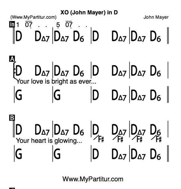 Mypartitur On Twitter Xo Chords In D Idsvk John Mayer