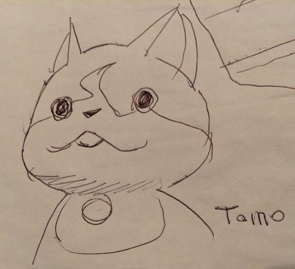 イデオンの湖川友謙さんが描いたアオリのジバニャン。ちなみに逆さに描いた。 pic.twitter.com/iYNEItY1JL