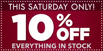 You know what's fun? A coupon for 10% off EVERYTHING in stock this Saturday! --> http://t.co/HQNaZtP7TH http://t.co/segzcE9smm