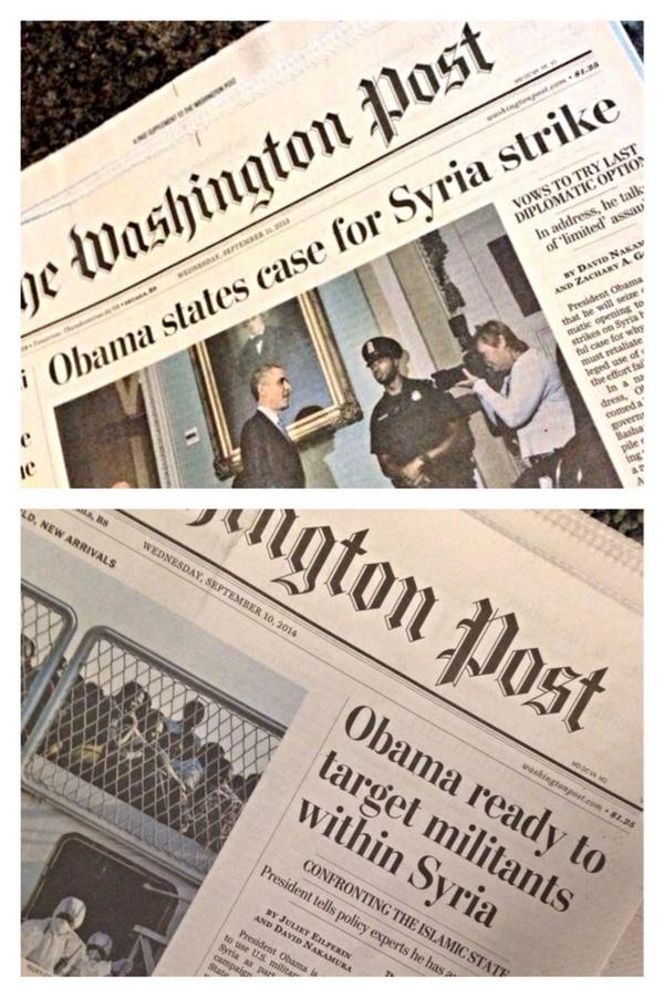 What a difference a year doesn't make: @washingtonpost front pages from Sept. 11, 2013, and Sept. 10, 2014 http://t.co/On8Jfpr34t
