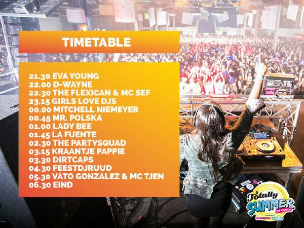 De timetable van de DIKKE line-up is bekend! #totallysummer #reunion #20september @Brabanthallen http://t.co/eQ1MPto5RI