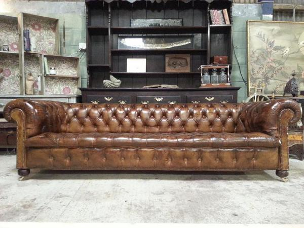 Castleyard Antiques On Twitter Antique Leather Cigar Brown Chesterfield Sofa Ending In 2 Hrs Bid Now Http T Co 3giaso0aql Cjswudoypm