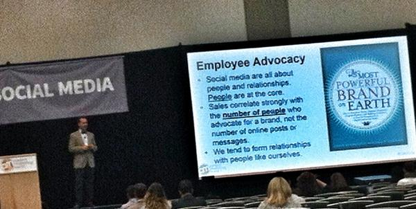 Listening to @scottmonty talk about the power of #EmployeeAdvocacy & cite @sfemerick & her book at #CMWorld http://t.co/Ef6QQf33hW