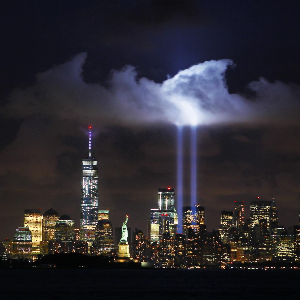 Photo: Annual Sept. 11 memorial tribute lights up New York ...