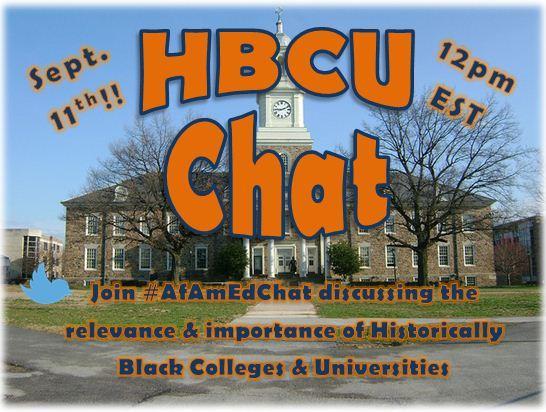 Don't miss today's #HBCU #AfAmEdChat w/ @WHI_HBCUs @UNCF @BBridgesPhD @Toya_Corbett @HBCUstorian @toldson @HBCUstory http://t.co/pzLti1C4Bv