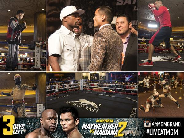 FIGHT WEEK DAY 2: @FloydMayweather & @ChinoMaidana went head to head at the Press Conference #LIVEatMGM #Mayhem http://t.co/RXhe9yvfhO
