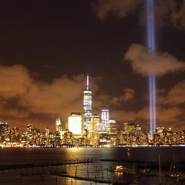 Speechless as I walked the dogs tonight on the eve of the 13th anniversary of #911. #TributeInLight #Honor911 #NYC http://t.co/6R1CftpOqg