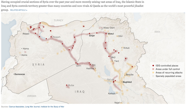 thats no small territory nytimes map areas of iraq and syria under isis control httpnytims1qfyjea pictwittercomrascvykpbu