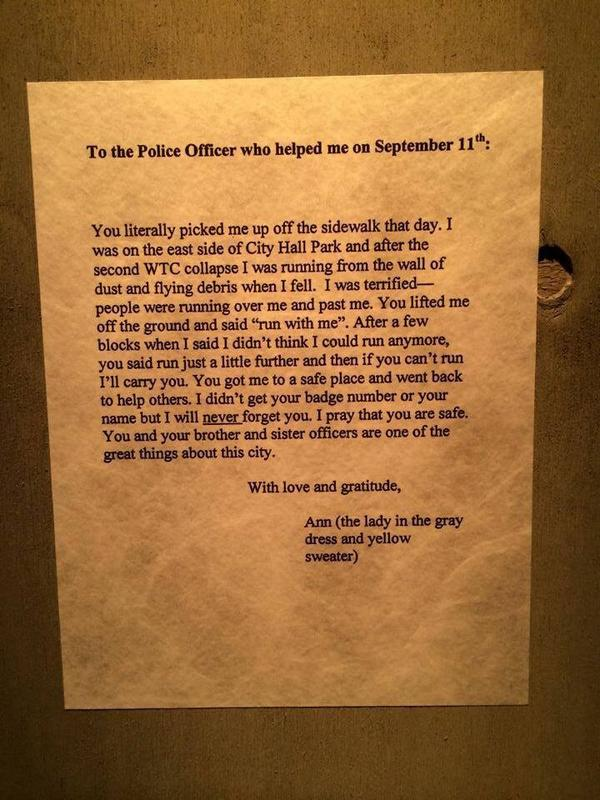 #ThankYou. #NYPD #Honor911 #NeverForget http://t.co/HHtT8FMw1g