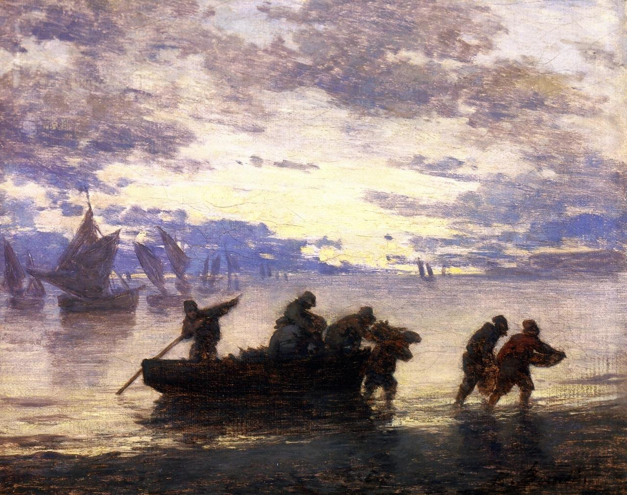 A Coastal Scene with Fishing Boats in Normandy