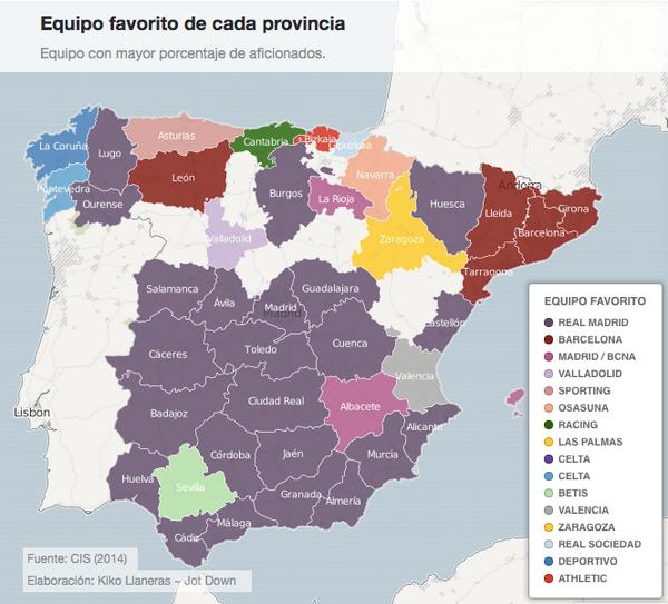 @walter_garcia_ Muy interesante; equipos favoritos por provincias, fuente Centro de Investigaciones Sociológicas, CIS http://t.co/JgN94iiIGC